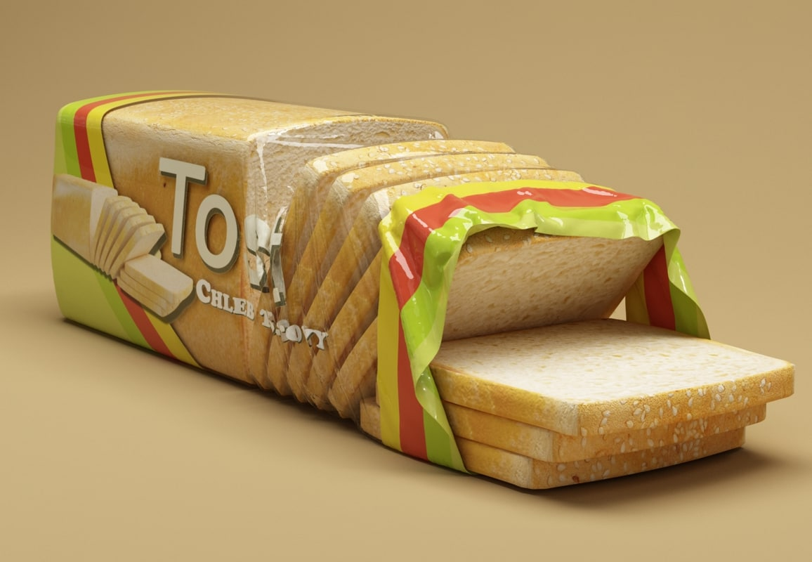 3d model toast bread