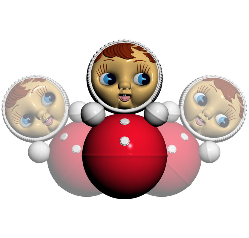 3d roly-poly toy model