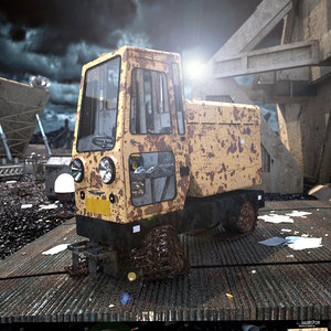 3d fbx abandoned vehicle
