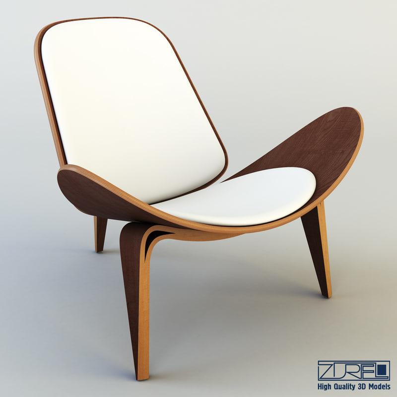 3d model shell chair