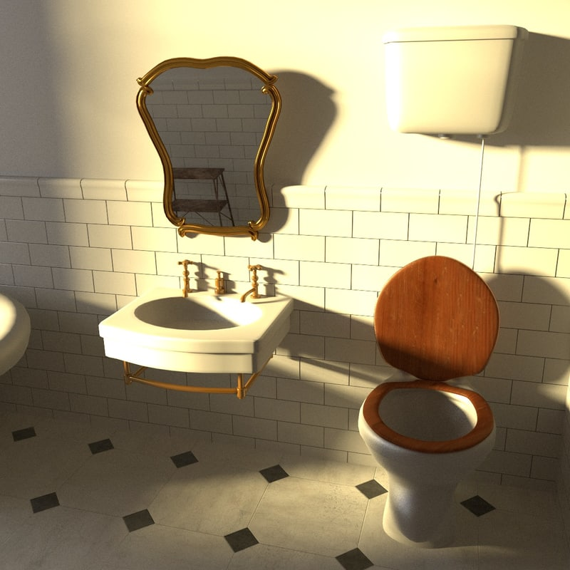 antique bathroom 3d 3ds