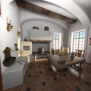 antique kitchen 3ds