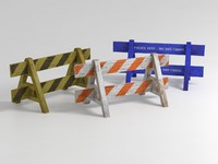 3 Wooden Weathered Barriers Cordons (Traffic, Police and Hazard) collection