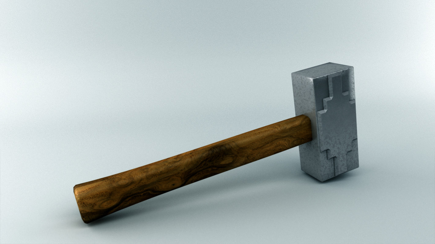 free max mode low-poly sledge-hammer
