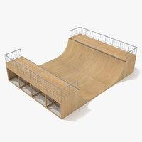 3d skate ramp - half pipe model