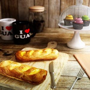 3d model beef sausage croissant