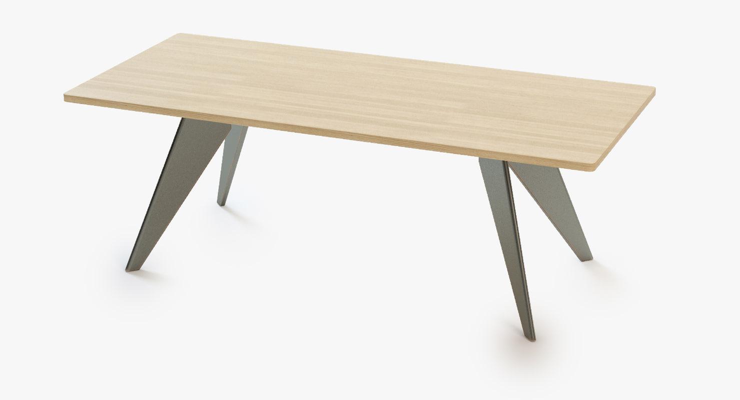 prouve-em-dining-table 3d model