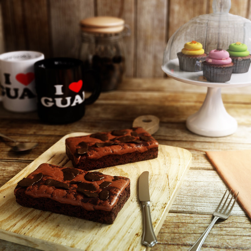 3d model double chocolate chunk brownie