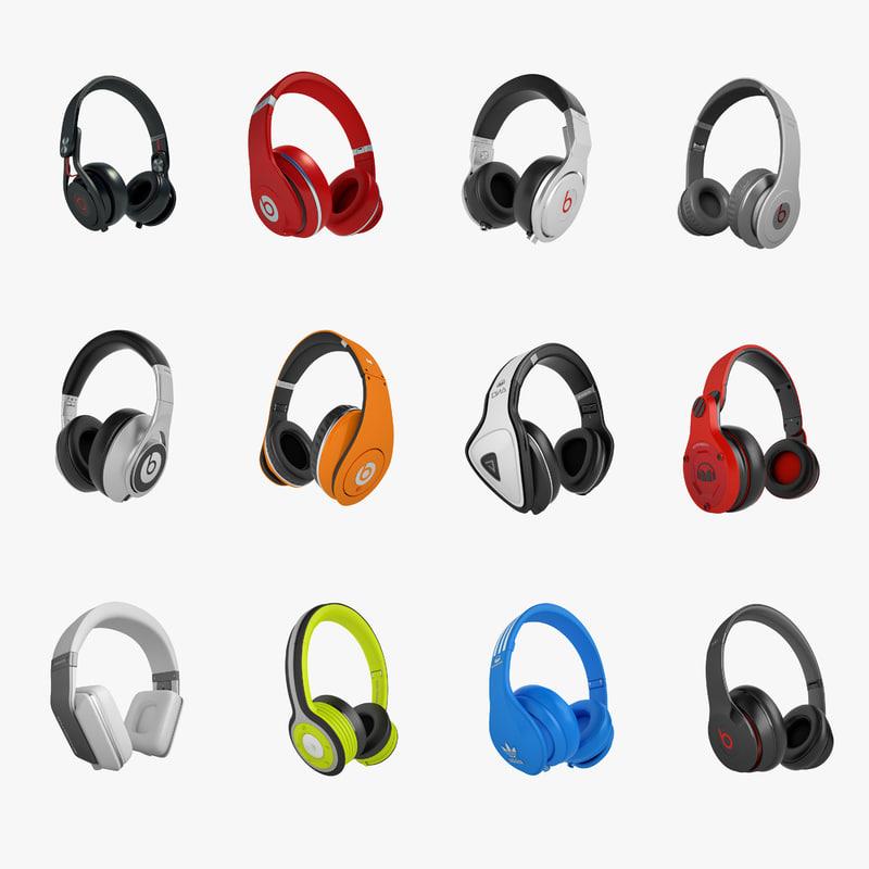 3d headphones monster 02 model