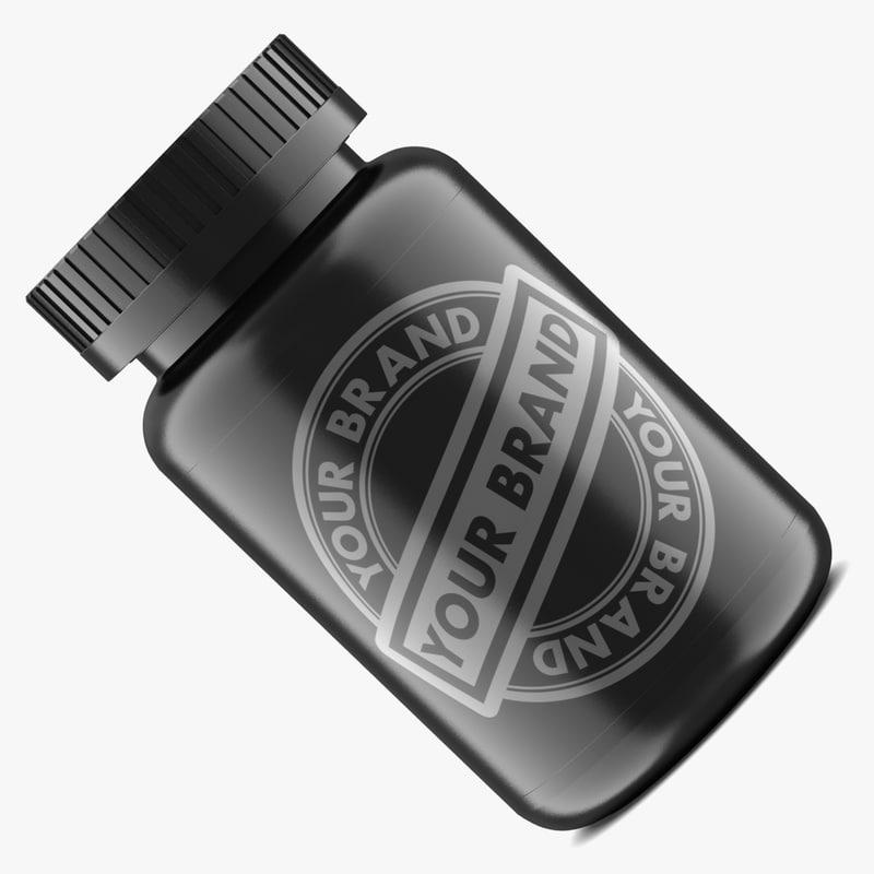 3d model pill bottle black