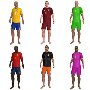 3d model pack rigged beach soccer player
