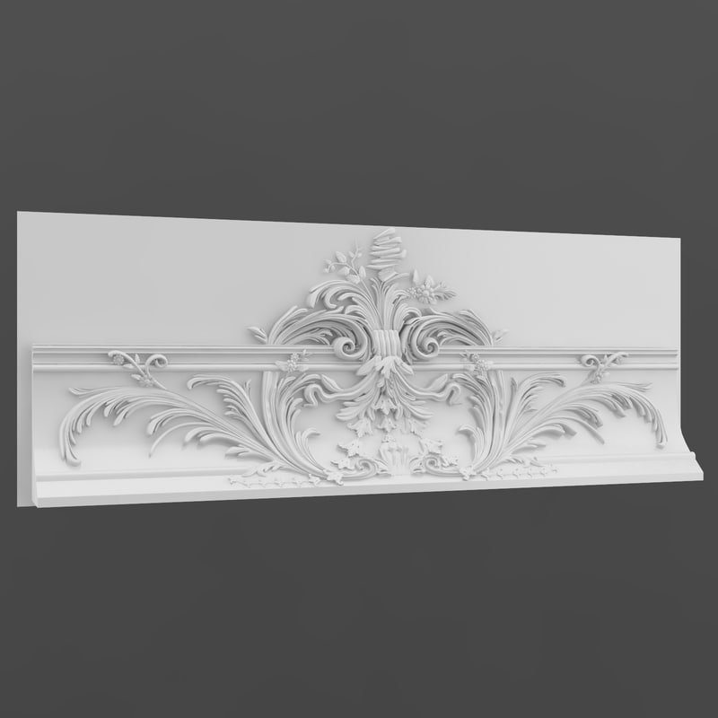 baroque stucco 3d obj