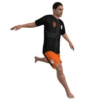 3d model beach soccer player rigged