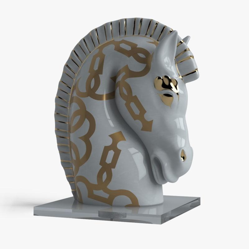 3d porcelain horse head le