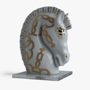 3d porcelain horse head le