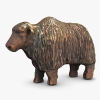 bull statuette 3d 3ds