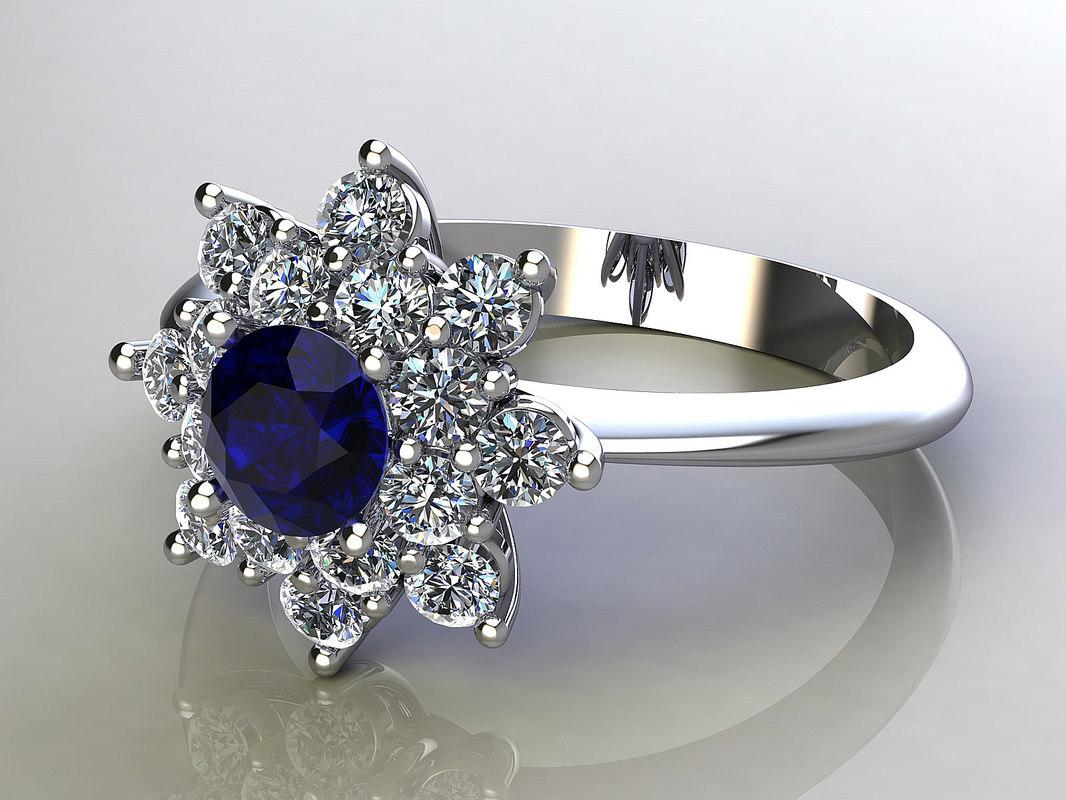 3d model ring flower diamonds