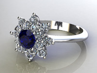 Ring Flower shape with diamonds