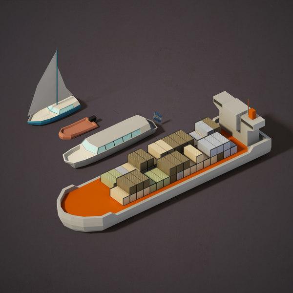 3d cargo boats