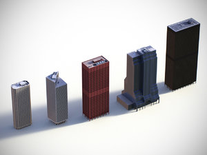 3d low-poly buildings model