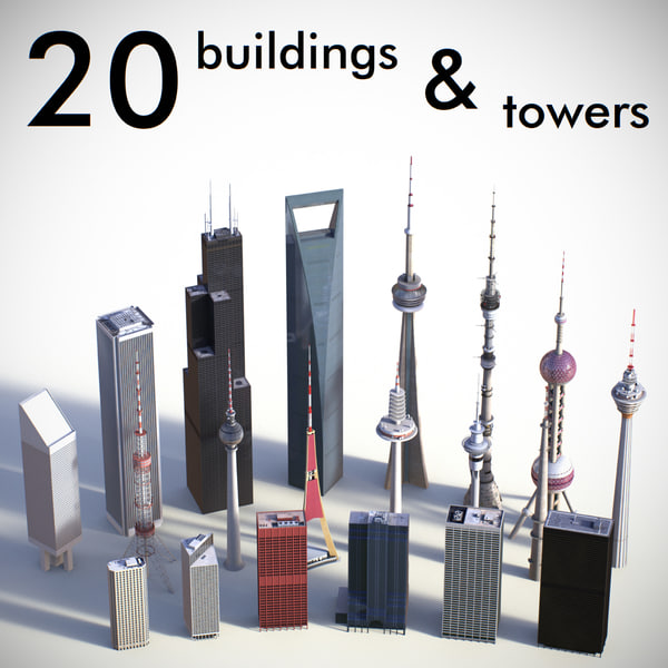 3d buildings towers model