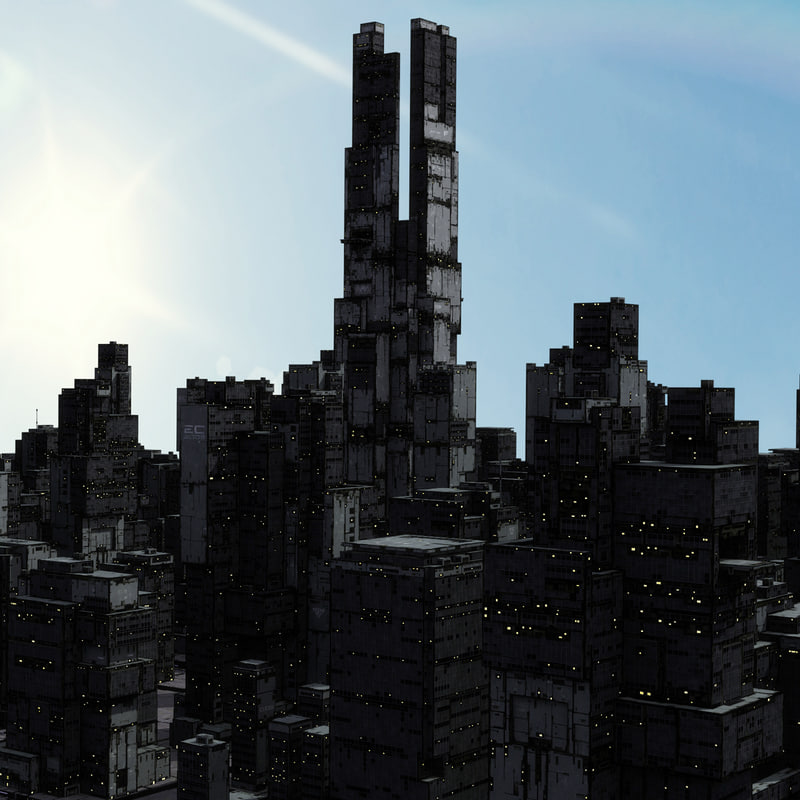 3d model sci-fi skyscraper building