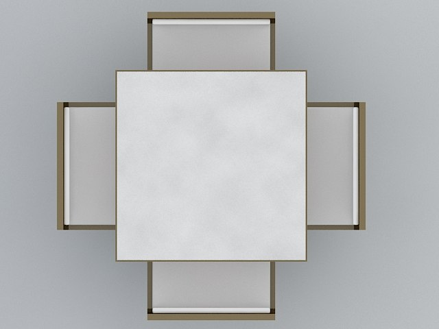 3d square cafe table model