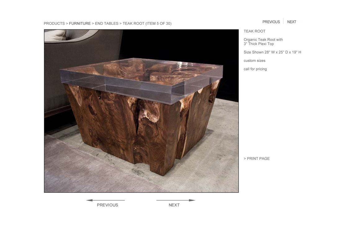 3d hudson teak root coffee table