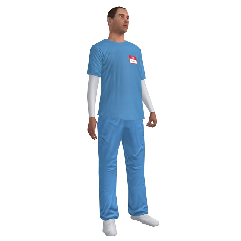 3d rigged male nurse