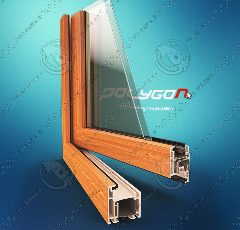 3d window pvc profile model