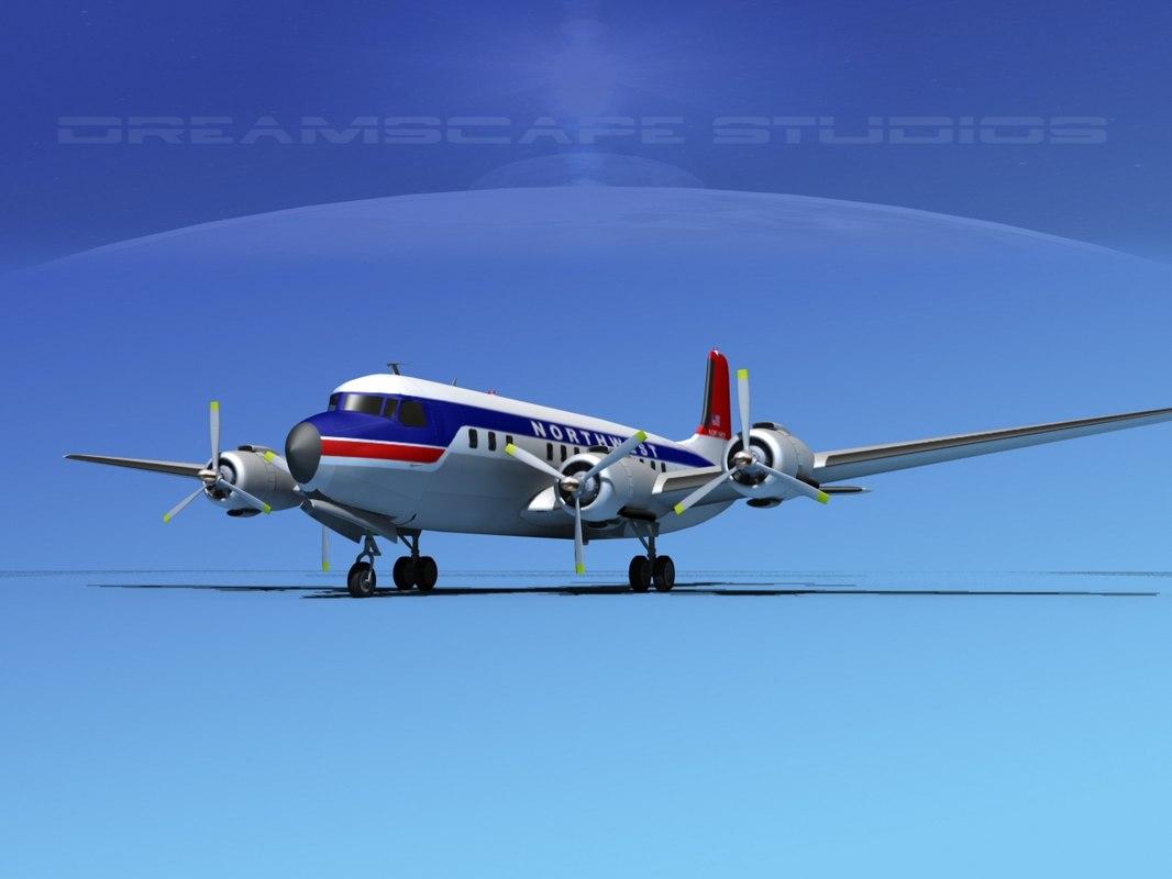 3d obj propellers douglas dc-7 dc-7b