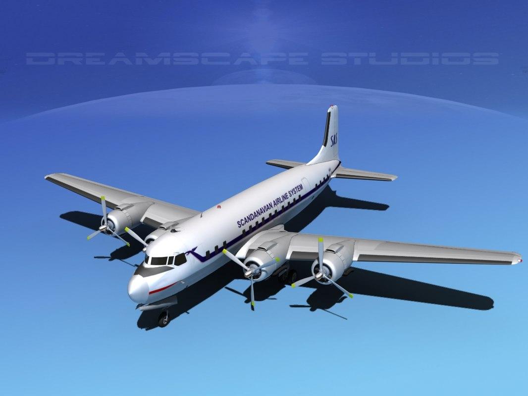 propellers douglas dc-7 dc-7b 3d 3ds