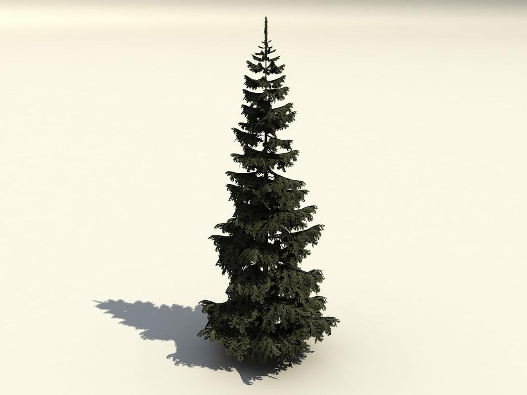 fir branches trunk 3d 3ds