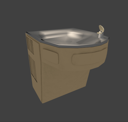 wall drinking fountain 3d 3ds