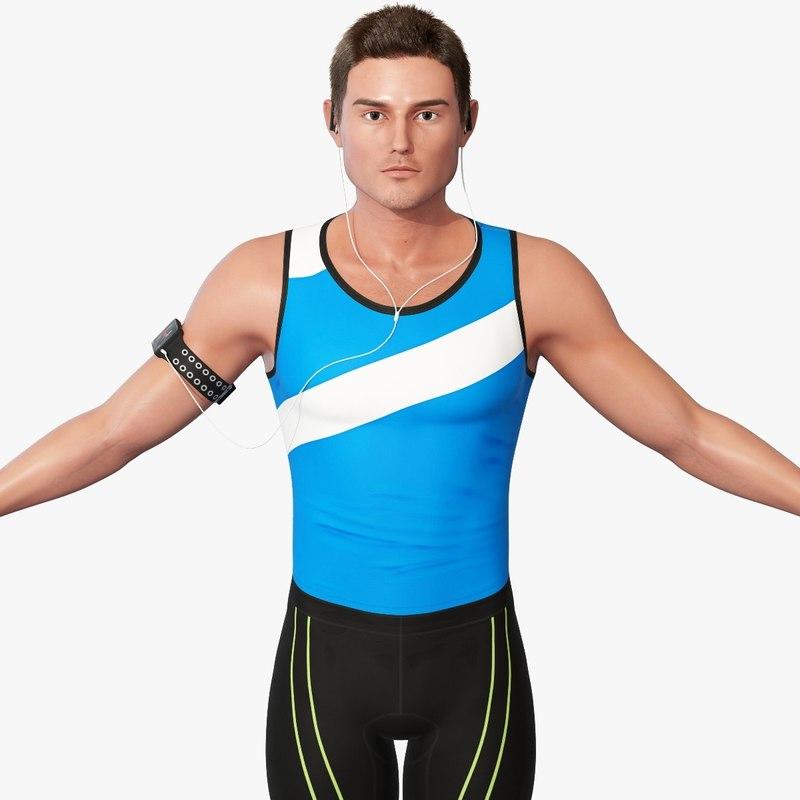 male athlete rigging 3d model