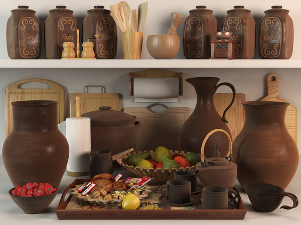 3d model kitchen decorative set
