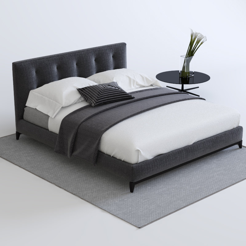 Maya bed minotti for 3ds max bed model