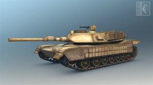 abrams tank 3d fbx
