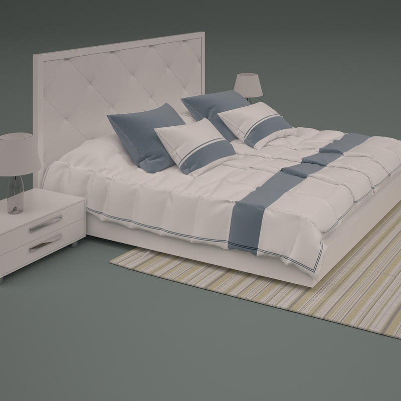 3d model of bed quilted