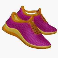 purple yellow sneaker 3d model