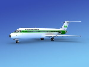 dc-9 commercial airliner 3d model