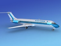 dc-9 commercial airliner 3d 3ds