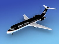 3d dc-9 commercial airliner
