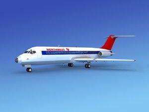 3d dc-9 commercial airliner model