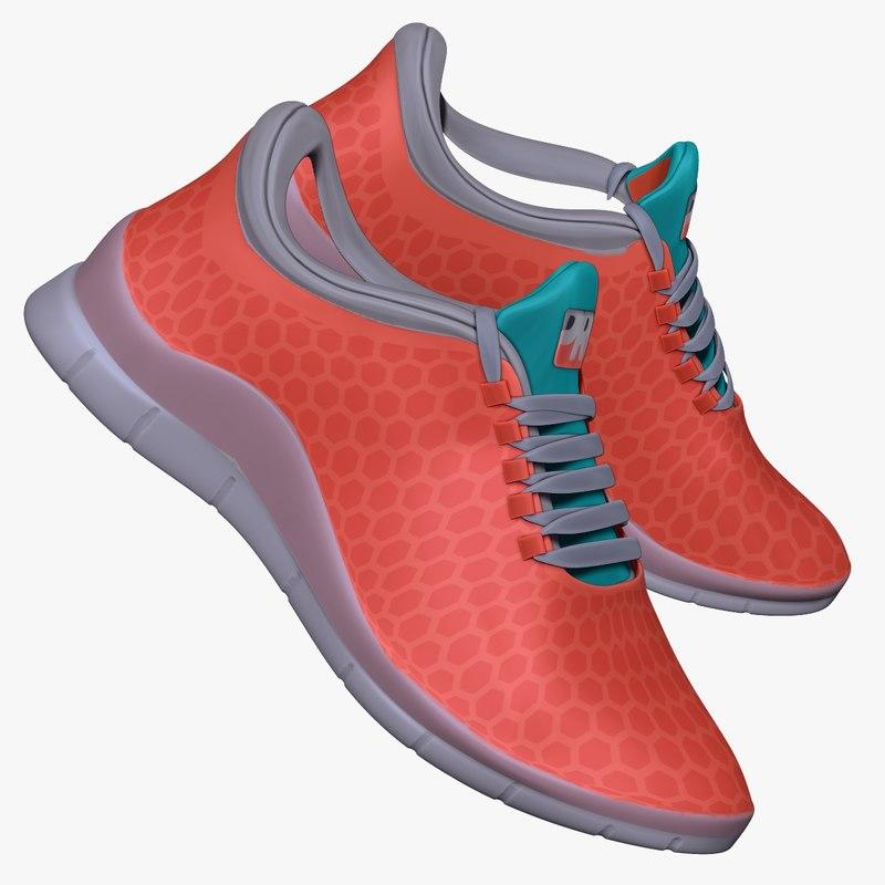 salmon blue sneaker obj