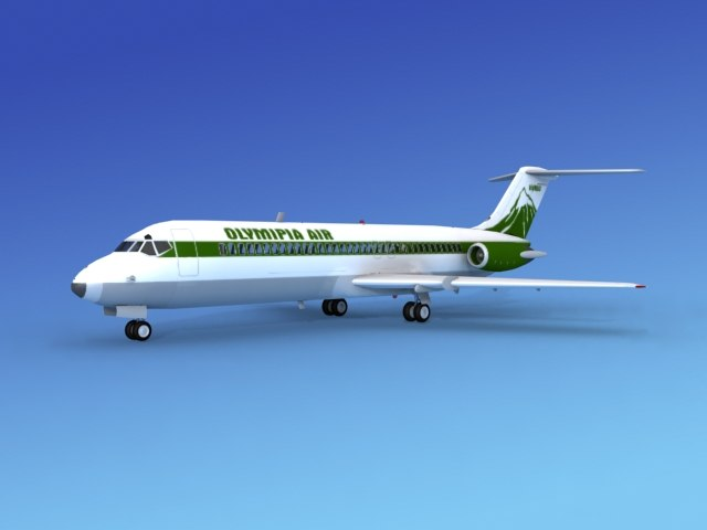3d model dc-9 commercial airliner