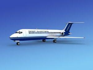 3d model dc-9 commercial airliner