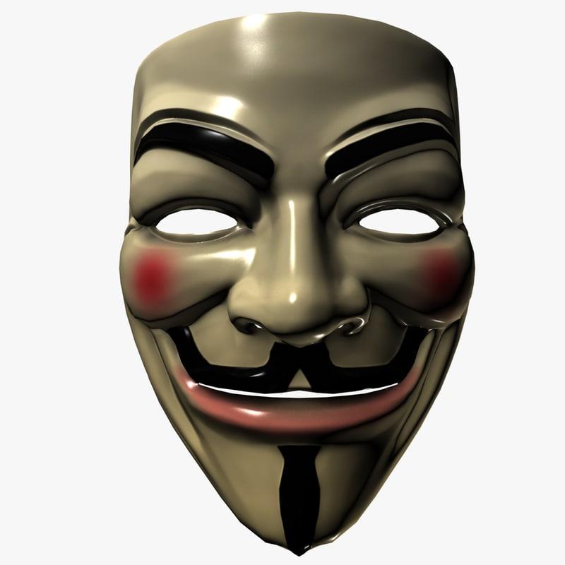 guy fawkes mask 3d mod...V For Vendetta Mask Vector