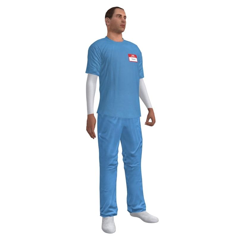 rigged male nurse 3d model