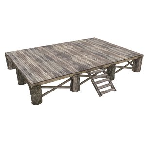 3d medieval wooden stage